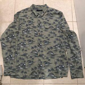AllSaints Island Print Long Sleeve Button Up Shirt